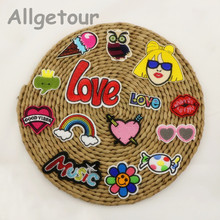 Free shipping 14pcs/lot mixed cartoon patches fashion Embroidered iron on patch for clothing Applique DIY Accessory(China (Mainland))