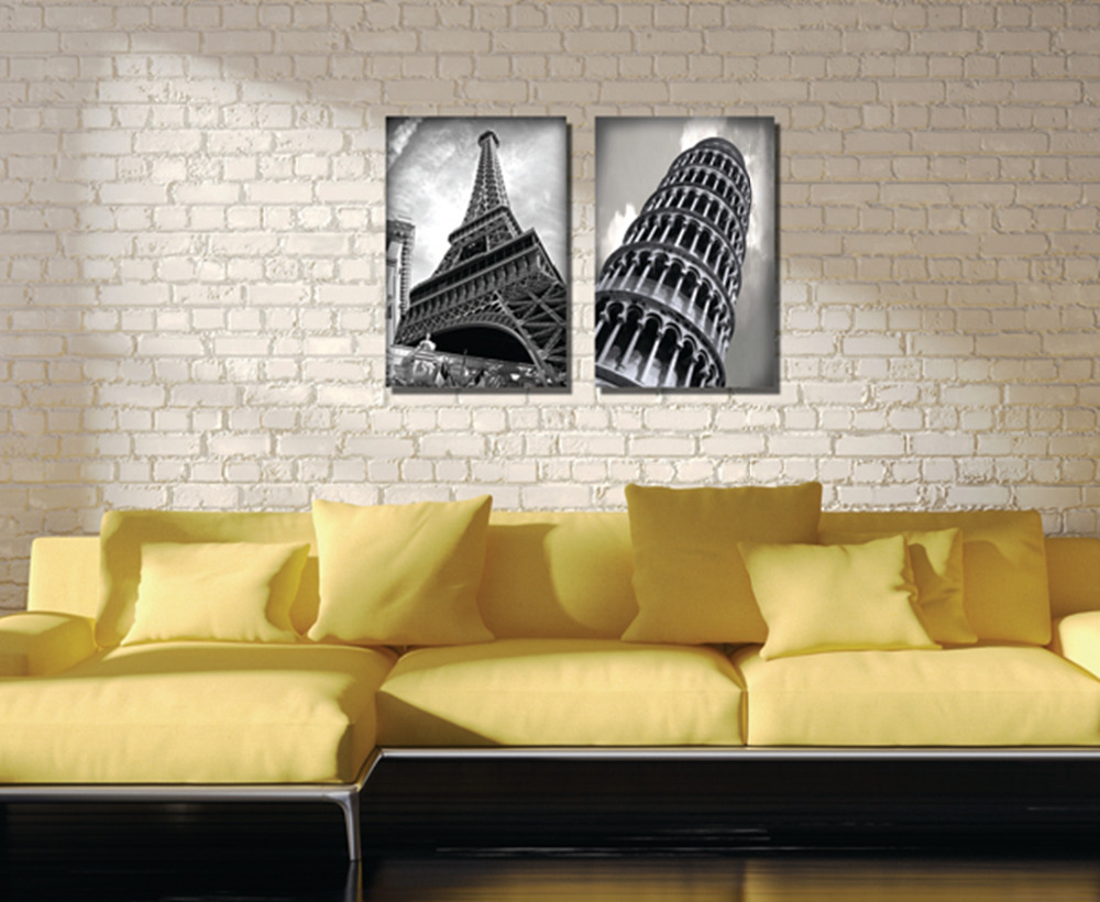 2Pieces no frame free shipping on Canvas Print Eiffel Tower Leaning Tower of Pisa lighting street car Old buildings Times Square(China (Mainland))