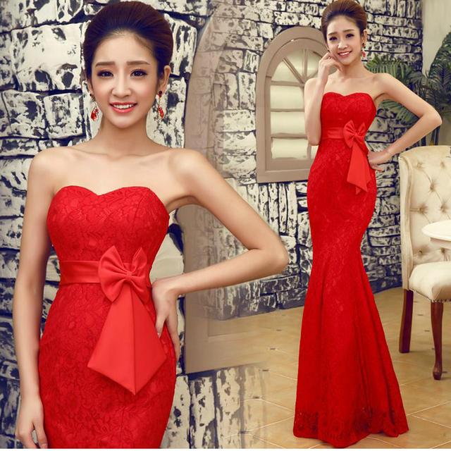 Новый 2016 красный цвет Большой размер халат де вечер кружева женские Жилетidos лонго ...