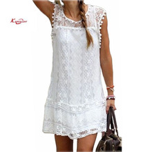 Buy Fashion Summer Dress 2017 Casual Solid Sleeveless O-Neck Plus Size Loose Beach Lace Party Women Dresses New Sexy Mini Vestidos for $6.56 in AliExpress store