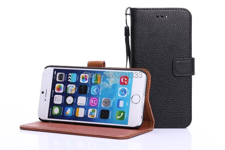 Litchi Rope Leather Wallet case credit card stand pouch Leechee holder purse For iphone 6 Air 6G 4.7
