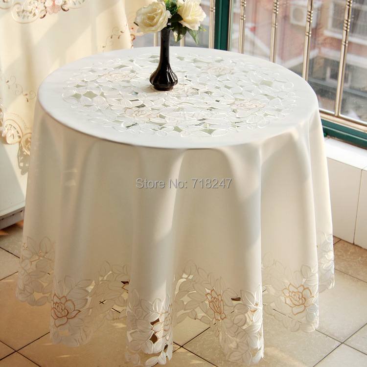 Hot Sale Elegant Round Polyester Floral Embroidery Tablecloths Solid Color Embroidered Table Linen Cloth Cover Overlays 1103R(China (Mainland))