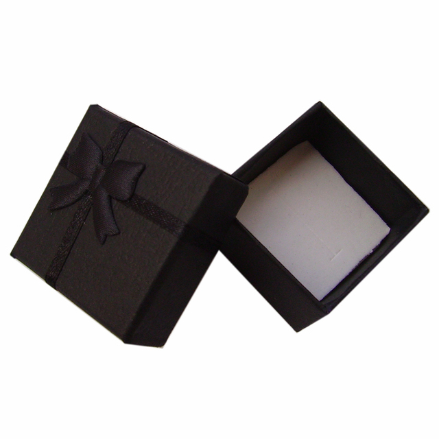 Wholesale 4*4*3cm Jewelry Display Packaging 48pcs/lot Earring Bracelet Ring Gift Boxes Black Square Carton Bow Case