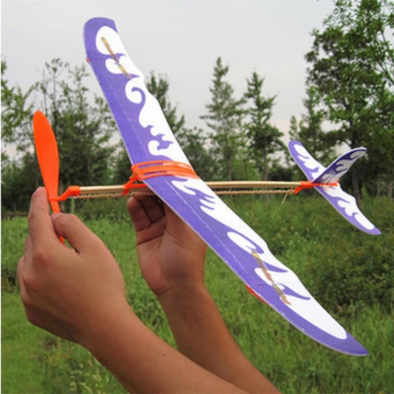 Kids vliegtuig speelgoed rubber band vliegtuig model building kit praktijk kinderen hand maken(China (Mainland))