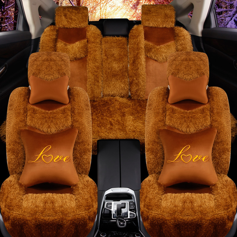 Thickening and thickening Deluxe Winter Plush Car Seat Cover for Seat Fur Auto Car Cushion Universal Car Super warm fashion c(China (Mainland))