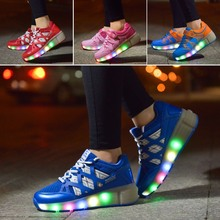 Led children shoes light lace size 27 37 Heelys sneakers wheels black blue pink girls kids - baby I love store