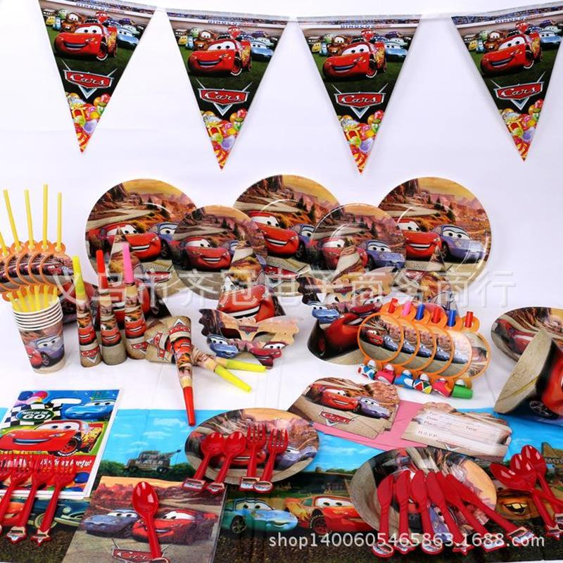 2014 New 90pcs Luxury Kids Birthday Party Decoration Set Cars Decoration Theme Party Supplies Baby Birthday Party Pack(China (Mainland))