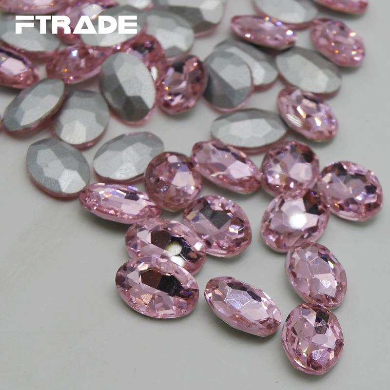 Oval Glass Rhinestone Light Pink Color 4x6mm-20x30mm Glue On Stone Crystal Pointback Button Non Holes For Clothing Accessories(China (Mainland))