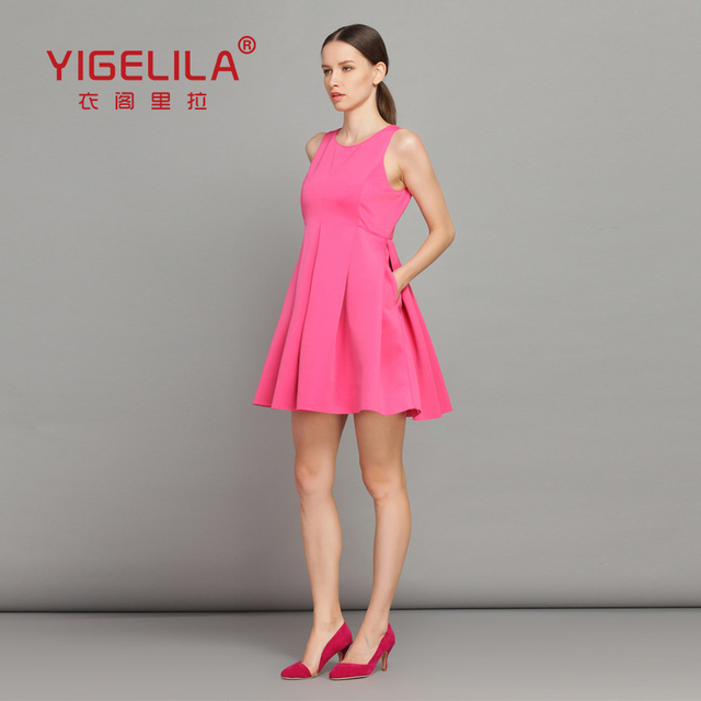 YIGELILA 6524 Euro Style Top Fashion Elegant Ladies Sleeveless Pink Dress Free Shipping