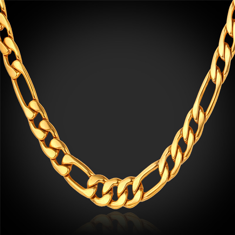 Gold Necklace For Men Jewelry 18K Real Gold Plated Chains 5MM 46CM/55CM/71CM Fashion Jewelry Stainless Steel Figaro Chain N1041(China (Mainland))