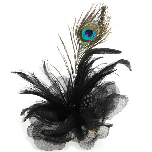 Sweet Center Black Flower Peacock Feather Organza Corsage Hair Clip Fascinator(China (Mainland))