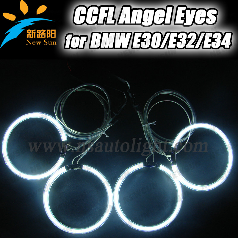 Best quality high brightness CCFL Rings for BMW E30 E32 E34 CCFL Angel eyes for cars, E30 E32 E34 headlight angel eyes kit CCFL(China (Mainland))