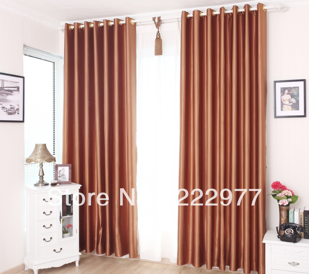 Free Shipping 100 Polyester Slubbed Fabric Curtain Rose Gold Ready Made Curtain Living