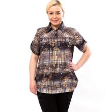 BFDADI 2016 летом модная женская футболка классический плед женские блузки с коротким рукавом свободного покроя футболки с отложным воротником топы Большой размер 6XL 3230(China (Mainland))