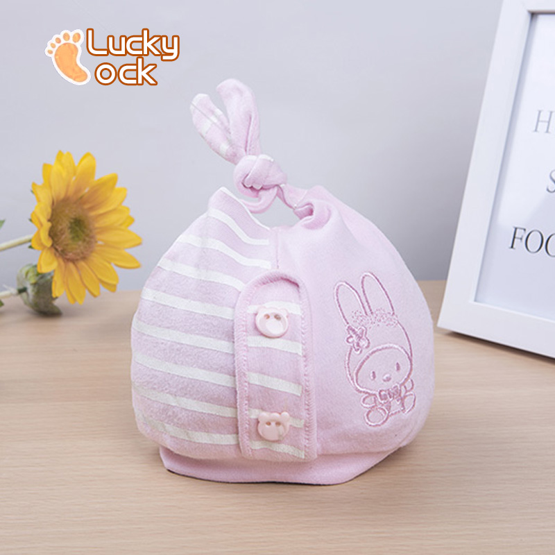 Cute original 100% cotton 0-3 months baby hats for newborns hospital hat infant girl kint sleep warm rabbit cap baby accessories(China (Mainland))