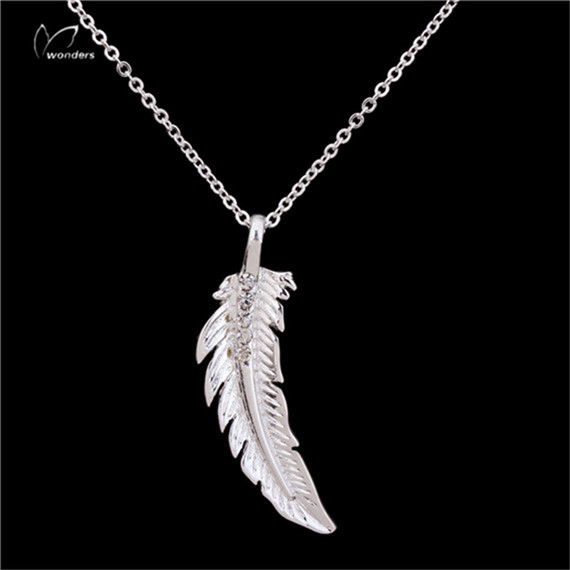 Turkish Jewelry Unique Birthday Gift Idea Cool CZ Feather Charm Necklace Gold Plated Chain Necklace for Women and Men(China (Mainland))