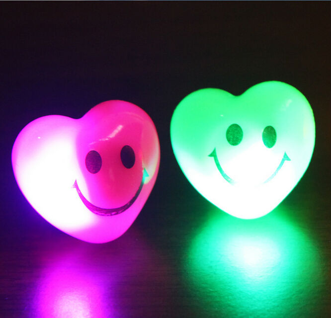 36pcs/lot Soft Jelly Heart Smile Motive LED Glowing Finger Rings Flashing Rings Light For Events Festival Party Decors Favors(China (Mainland))
