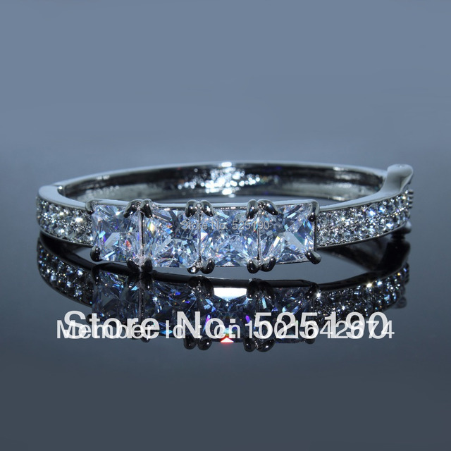 Free Shipping New Fashion Hot selling Imitation Rhodium Plated AAA Cubic Zircon Diamond Crystal Hinge Bangle For women Wholesale