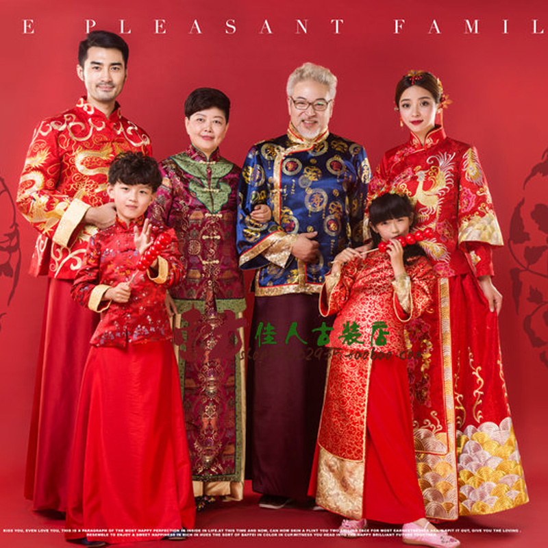 6 Piece Set Home is Everything Vintage Red Traditional Tang Suit Family Gathering Picture Parent-Child Costume Hanfu Sets  Одежда и ак�е��уары<br><br><br>Aliexpress