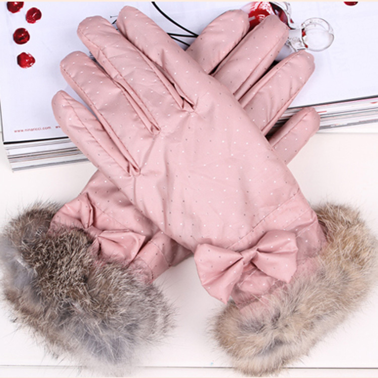 2014 new bow gloves female winter ski ride lady lovely rabbit fur export thermal post free - Shanghai Yi Hong Trading Co., Ltd. store