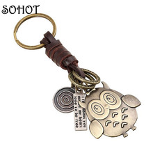 SOHOT 2017 Fashion Women Men Jewellery Key Ring Holder Owl Handbags Pendant Genuine Leather Vintage Key Chains Keychain(China (Mainland))