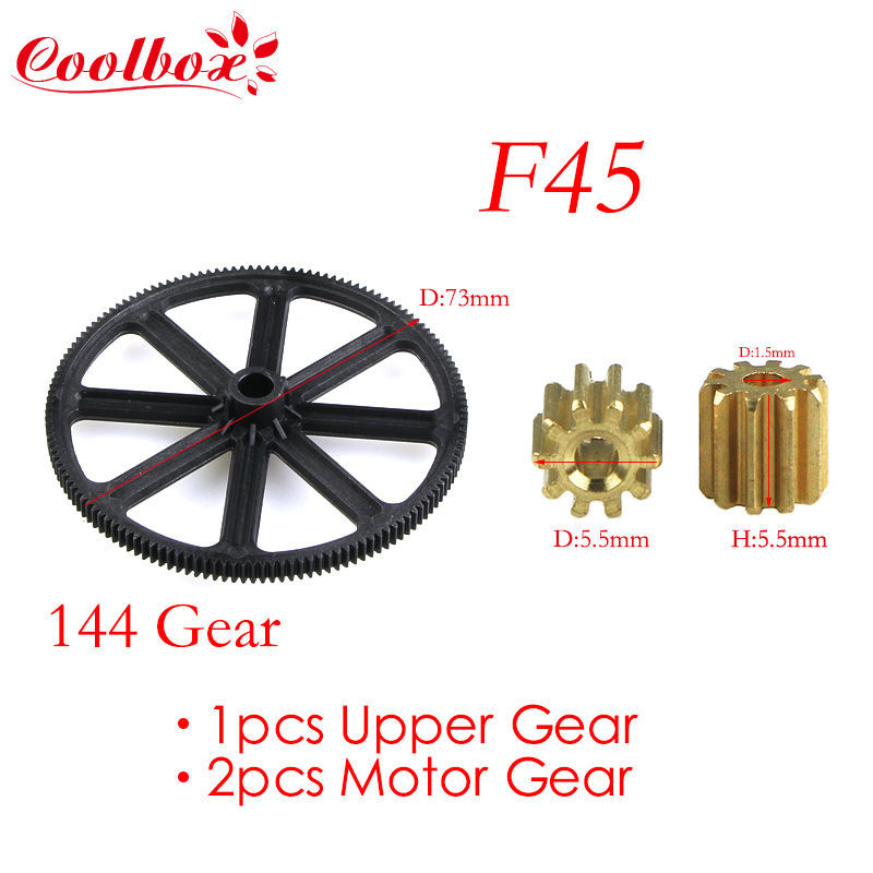 Free shipping 1pcs Upper Gear&2pcs Motor Gear Spare Part for MJX F45 2.4G Metal Gyro rc helicopter(China (Mainland))