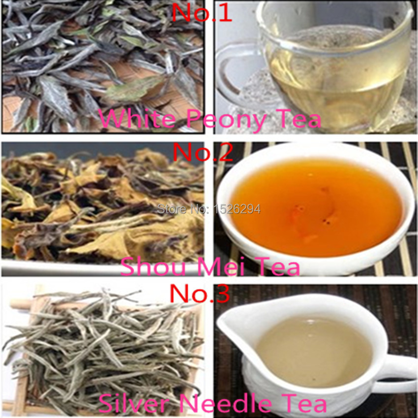 Free shipping 15 bags Organic Chinese Tea 3 kind Different flavors White Tea Shou Mei Silver