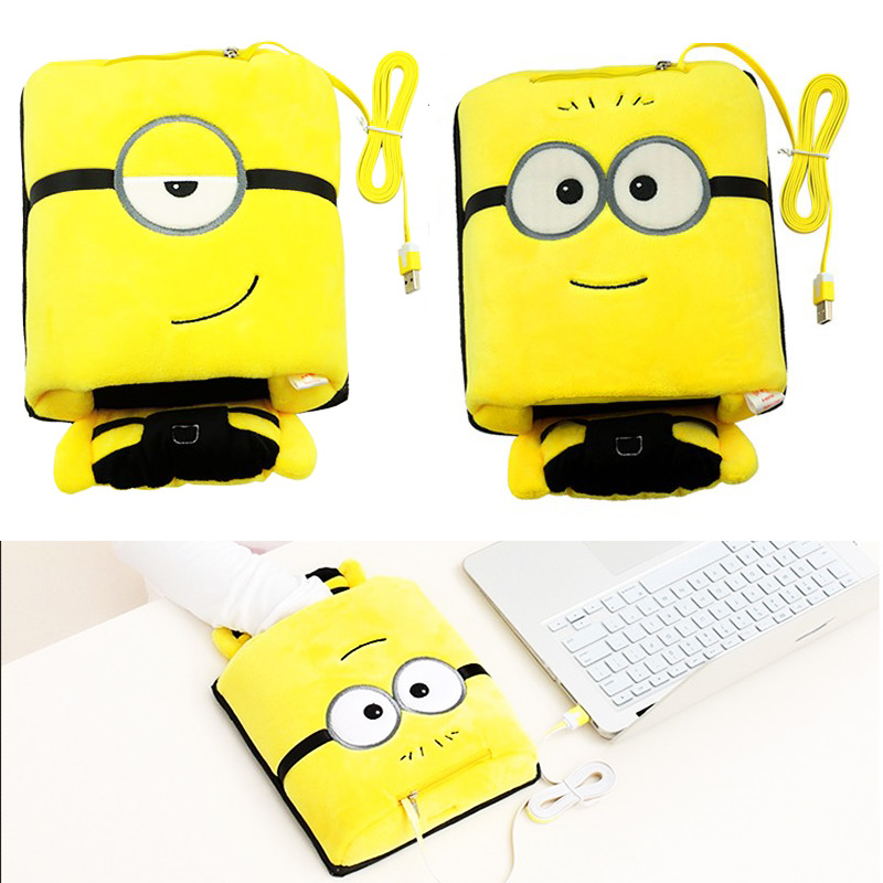Winter USB Heated Mouse Pad Hand Warmer Minions Cute Plush Cover Mousepad Heat Source Pad with Wrist Rest for Officer Home(China (Mainland))