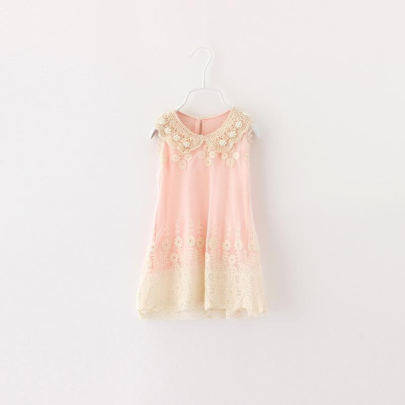 Babies Girls Lace Frilled Sleeveless Summer Dresses Candy Color Embroider Vintage Casual Dresses Ruffles Sweet Babies Dress<br><br>Aliexpress