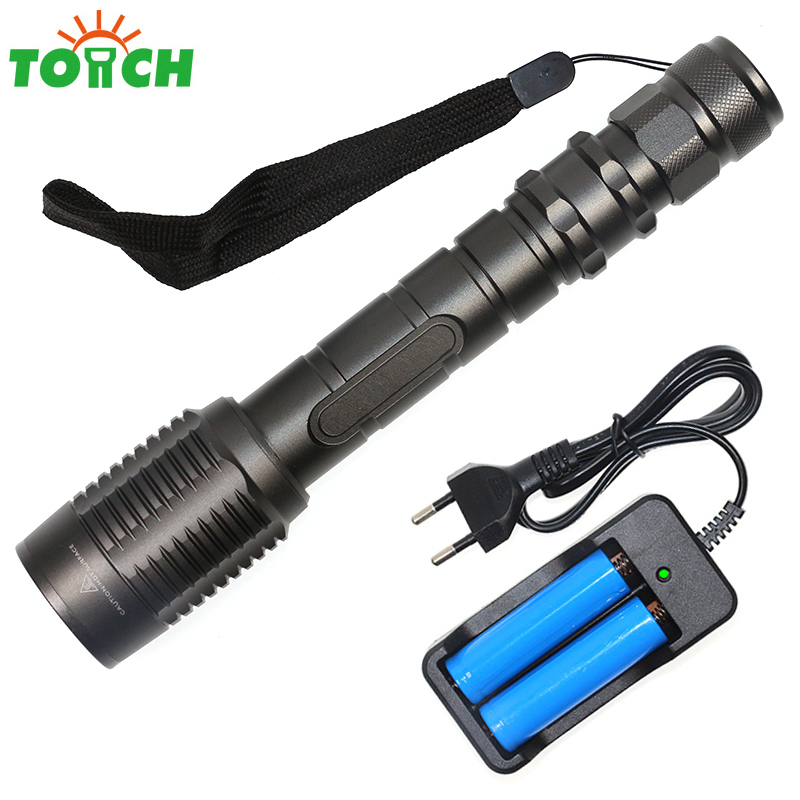 Powerful Blacklight 3800Lm XML T6 Linternas LED Defense Personal Flashlight Torch+EU wall Charger+2x18650 Rechargeable Battery(China (Mainland))