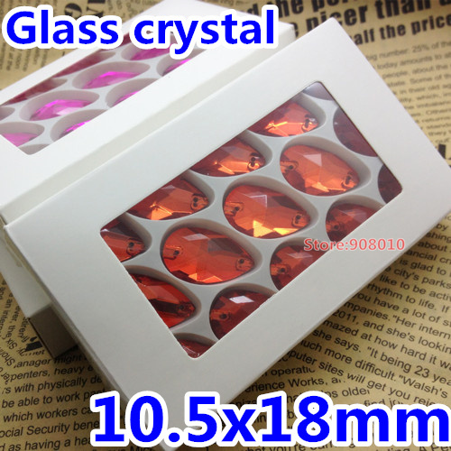 140pcs/box 10.5x18mm Pear Teardrop Sew On Rhinestones Hyacinth Orange Color 11x18mm Sewing Glass Crystal Stone(China (Mainland))