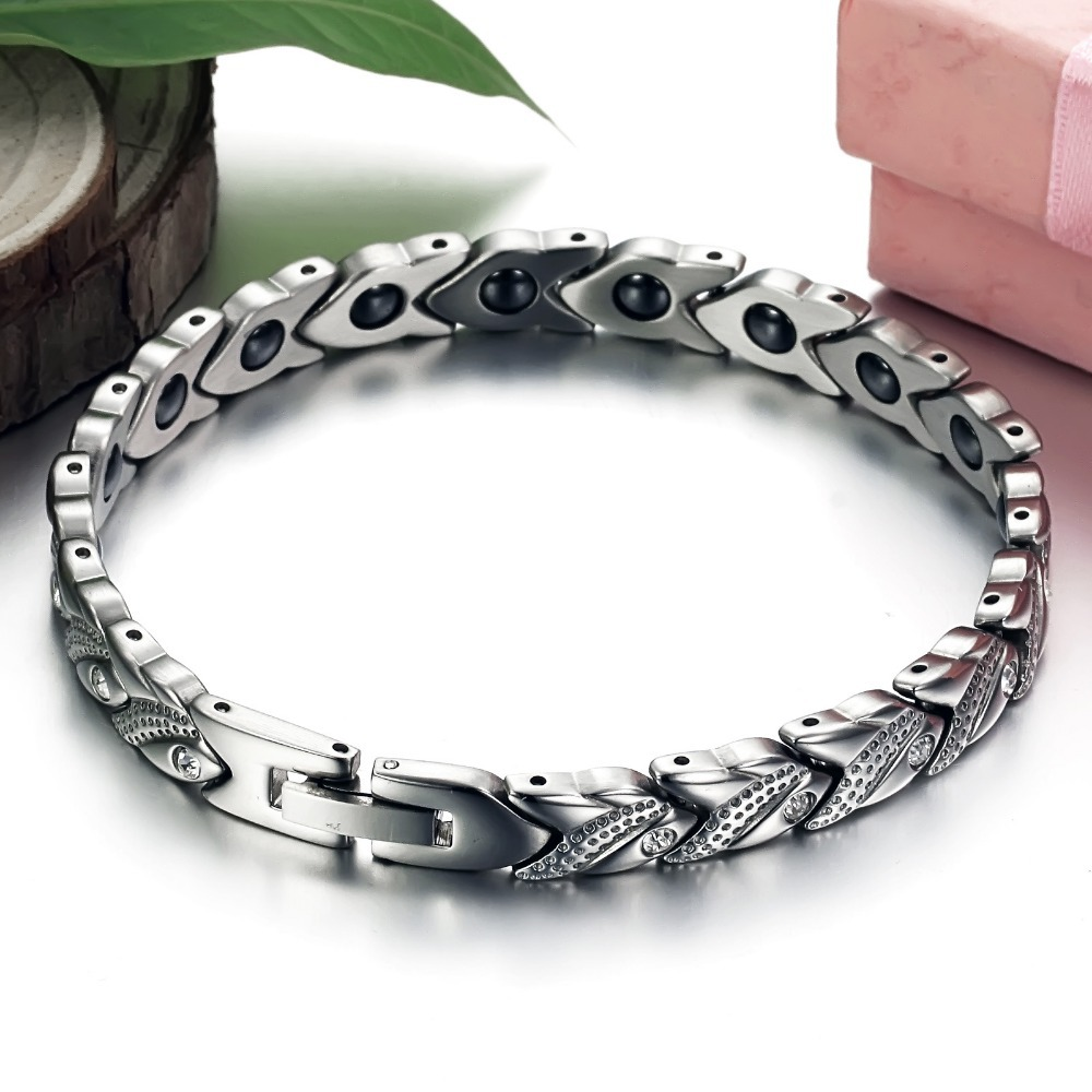 Luxury Crystal Rhinestone Magnetic Health Bracelets Germanium Stones Stainless Steel Women Bracelets Ladies Jewelry Accessories(China (Mainland))