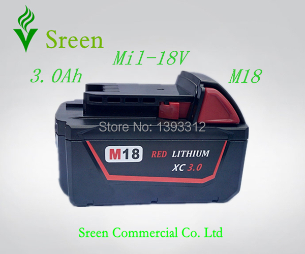New 3000mAh 18V Lithium Ion Replacement Power Tool Battery Packs for Milwaukee M18 XC 48-11-1840 Cordless Drill Battery M18B(China (Mainland))
