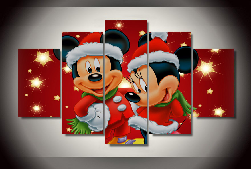 Home Decor Picture Modular Painting Mickey Mini Mouse Christmas Painting Children'S Room Decor Print Poster Picture Canvas Wall(China (Mainland))