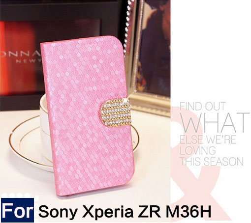 Diamond stone for Sony Xperia ZR M36h C5502 C5503 Luxury PU Leather Flip Cell Phone Cover case With Stand Gift+free shipping(China (Mainland))