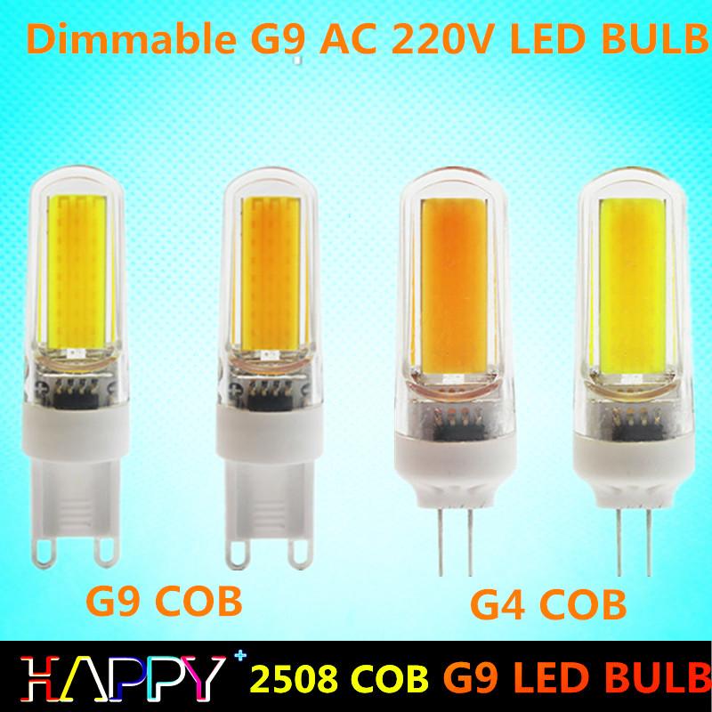 Long Life Dimmable G4 G9 COB Led Light 360 degree PC Shell AC 220V 9W COB Led Bulb Lamp Replace Halogen Chandelier lighting(China (Mainland))