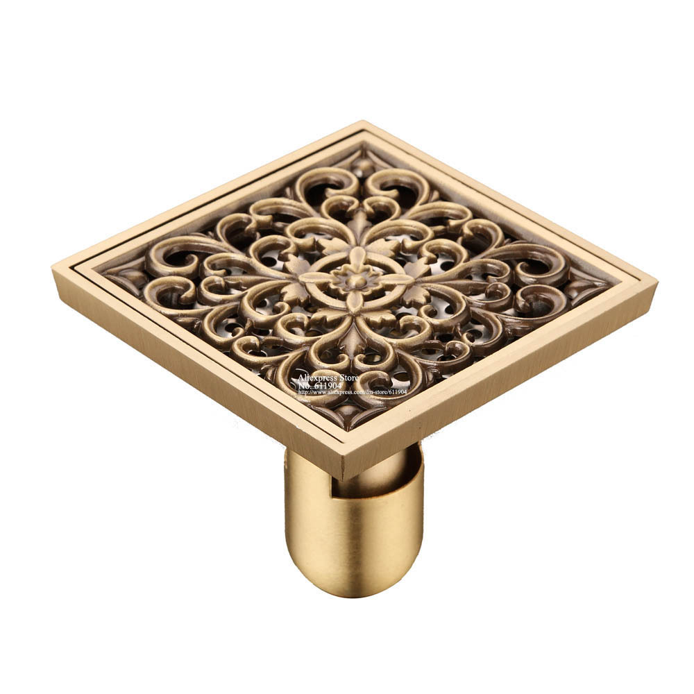 Bathroom Floor Drain Strainer : Vintage flower carved bathroom shower drain floor trap