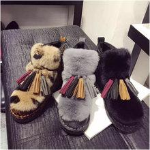 Moda Real de Piel de Conejo Botas de Invierno Botas de Nieve Caliente Grueso de Las Mujeres Zapatos de Invierno de Nieve Caliente Botas Zapatos De Mujer botas(China (Mainland))