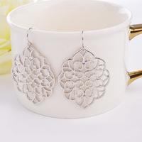 Vintage Hollow Pendientes Silver Gold Leaves Tassel Drop Earrings Jewelry Chandelier Earrings Boucle Oreille Dangle Earring