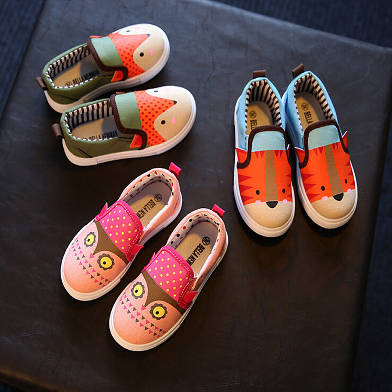2016 Autumn Korean children shoes cartoon canvas shoes breathable shoes girls fashion students fashion shoes(China (Mainland))