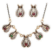 Antique Gold Vintage Crystal Rhinestone Flower Turkish Jewelry Set Indian Jewelry Sets Wedding Party Necklaces Earrings N715(China (Mainland))