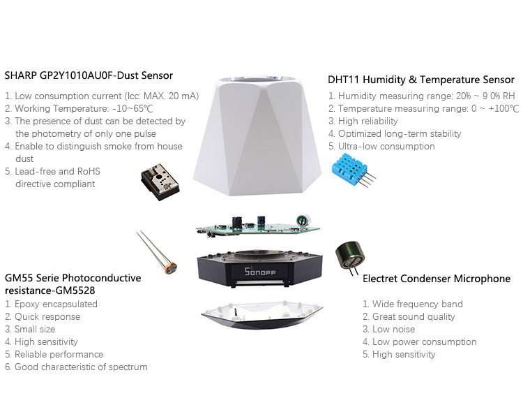 ITEAD Sonoff SC Indoor WiFi Environmental Monitor Temperature,Humidity,Light Intensity,Air Quality Detect Smart Home Automation