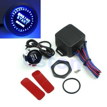 Free Shipping 12V Car Engine Start Push Button Switch Ignition Starter Kit Blue LED Universal(China (Mainland))