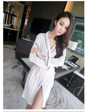 2016 new style modal cotton embroidery letter  women robes women sexy bath robe(China (Mainland))
