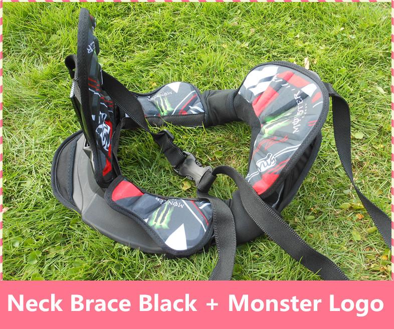 Black + Monster Logo Motorcycle Neck Brace suspenders light weight full strong protector Motocross motorbike riding neck guard