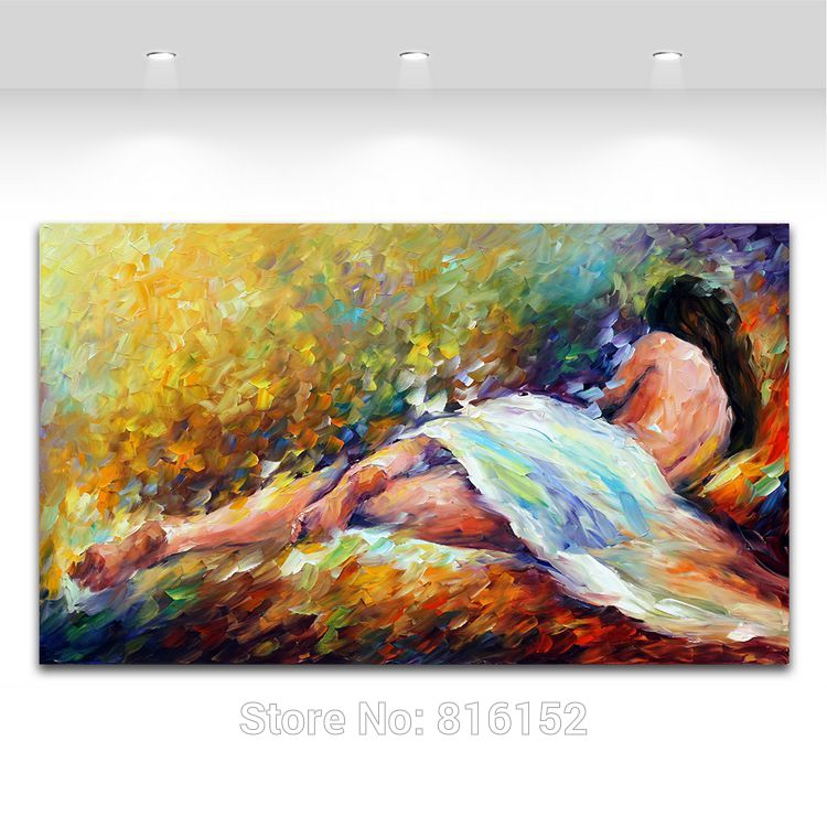 Buy 100% Handpainted Oil Painting on Canvas Sexy Nude Women Canvas Painting Unframed Palette Knife Wall Picture for Living Room cheap