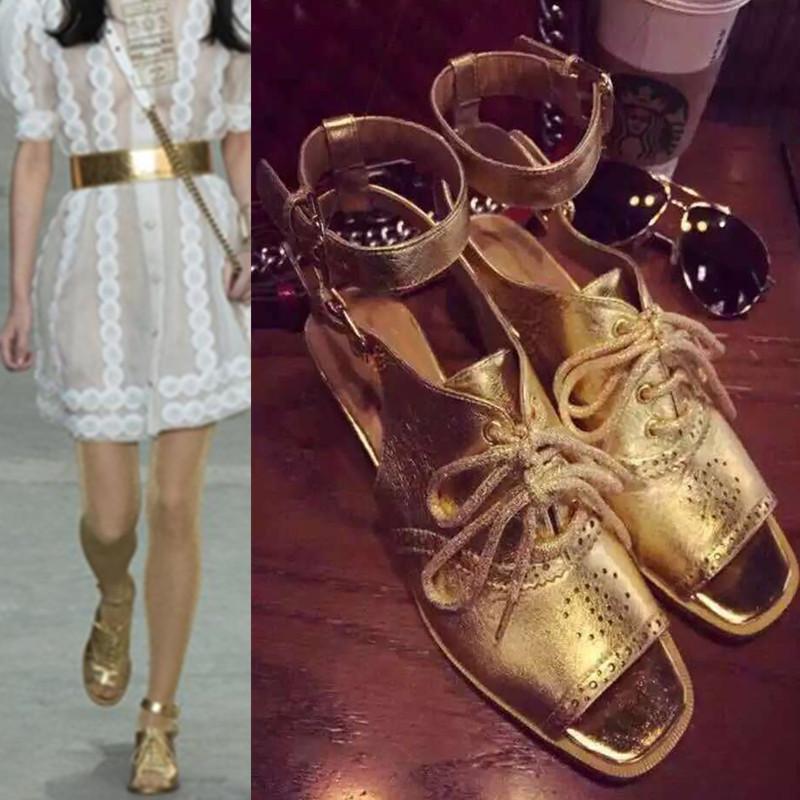 Latest 2015 Highstreet Fashion Brand Sandals Gold Peep Toe Gladiator Sandals <br><br>Aliexpress
