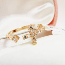 The New Exquisite Gold Plated Cross Adjustable Alloy Ring Korean Fashion Jewelry fashion rings rings for