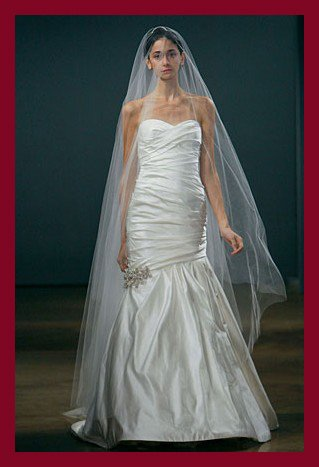 Free shipping online wholesale&retail satin mermaid wedding dress of Monique Lhuillie fall 2009 collection Alina(China (Mainland))
