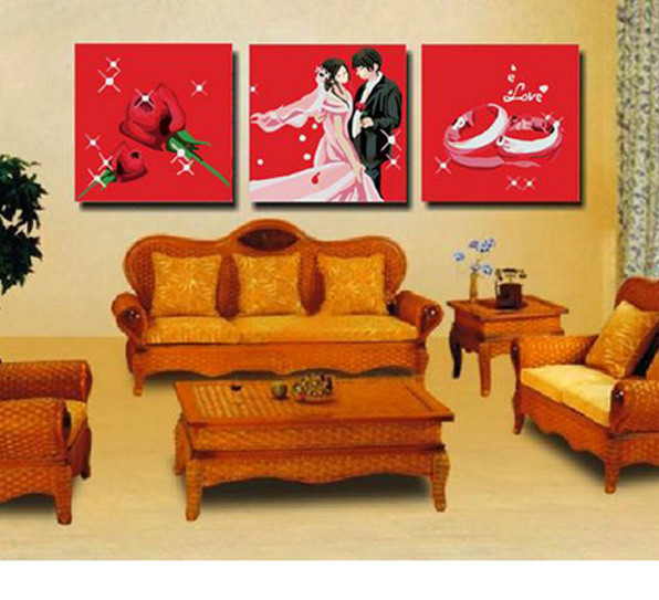 Free shipping 3 piece diy oil painting canvas rose teaser for Country living customer service number